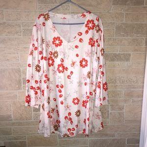 Long Sleeve V Neck Dress/Tunic